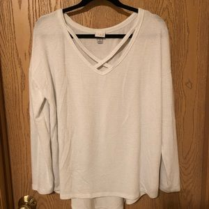 White striped long sleeve top